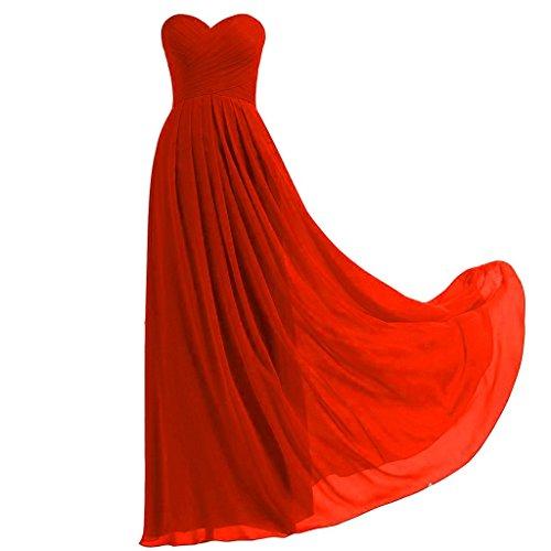 Lemai Criss Cross Long A Line Pleats Chiffon Corset Prom Evening Formal Bridesmaid Dresses Red US16W