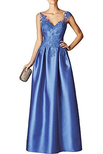 Damen Kleid Applikation Jugendweihe Partykleider La Ballkleider Blau mit Braut Abendkleider Spitze Satin Marie wxEzfAEq6