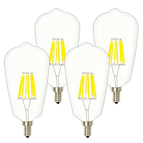 8W ST21(ST64) Edison LED Filament Bulb, Lustaled E12 Candelabra Base 120V Clear Squirrel Cage Style Decorative Bulb 80W Incandescent Replacement for Home Use Lighting (Natural White 4000K, 4-Pack) (Base Clear Bulbs Candelabra Uses)