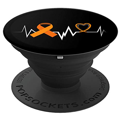 Heartbeat Orange Ribbon Leukemia Awareness Family Gift Phone - PopSockets Grip and Stand for Phones and Tablets