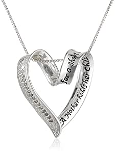 """Sterling Silver Diamond """"A Mother Holds Her Child's Hand"""" Heart Pendant (1/10 cttw, I-J Color, I2-I3 Clarity)"""