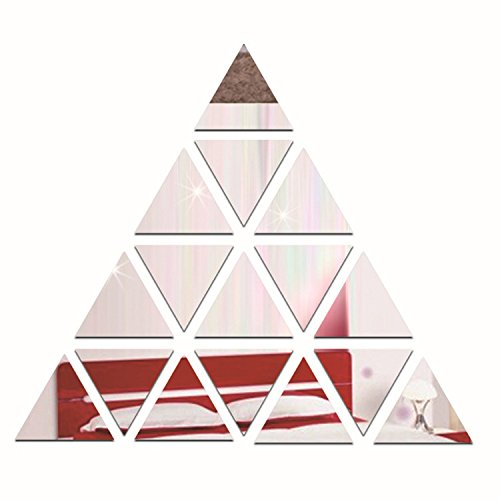 Silver 16pcs Triangles Pyramid Wall Art 3D Acrylic Mirror Surface Wall Stickers DIY Living Room Bedroom Home Decoration adesivo de parade Mirrored Stickers Wall Decor Removable (Art Wall Triangle)
