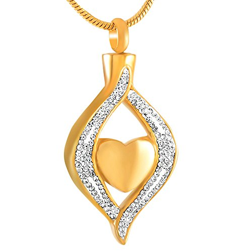 Crystal Heart Keepsake - love of life HLN8111 Ashes Keepsake Urn Pendant Necklace Memorial Jewelry Classic Style Crystal Hold Heart Urn (Gold)