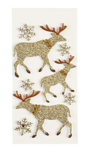 Jolee's Boutique Parcel Glittered Moose Silhouette Dimensional Stickers