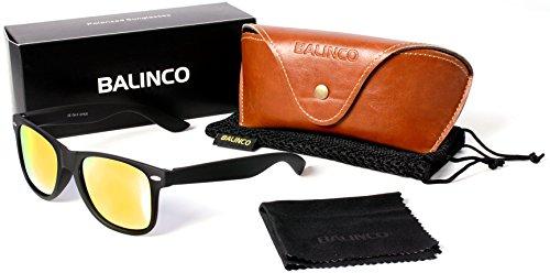 qualité Rétro Miroir avec polarisé Balinco ressort dans Nerd Set 24 haute Lunettes Noir Gomme Modèles jaune à Charnière Lunettes Vintage Unisexe de soleil 57fwqp7BaW