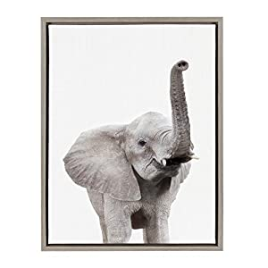 Kate and Laurel Sylvie Elephant with Raised Trunk Animal Print Portrait Framed Canvas Wall Art by Amy Peterson, 18x24 Gray