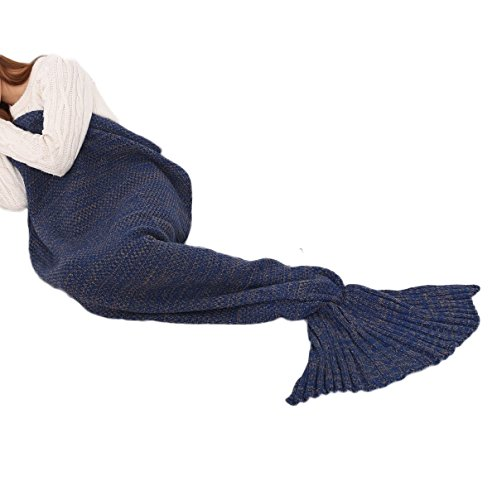 "Mermaid Throw Blanket for Adults, Warm and Soft Mermaid Princess Living Room Sleeping Bag Snuggle Mermaid Tail Blanket Knitted Bedding Blanket, Seasons Handmade Crochet Blanket, 71""x35"" Dark Blue"