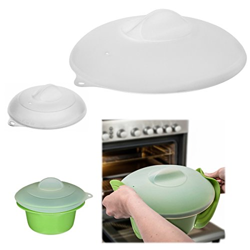 Zak Set of 2 Silicone Lids Dome Microwave Cover for Food Splatter Guard Large Small - Cover Microwave Silicone