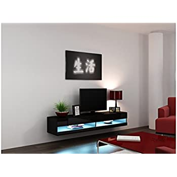 Concept Muebles 80 Inch Seattle High Gloss LED TV Stand   Black