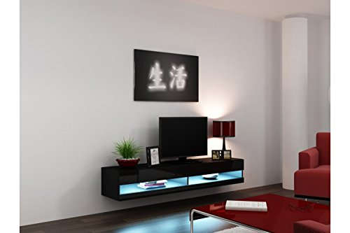 Concept Muebles 80 Inch Seattle High Gloss LED TV Stand – Black