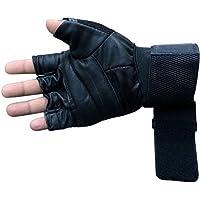 Babji Black Leather Gloves With Belt Adjustable in Gym/Riding