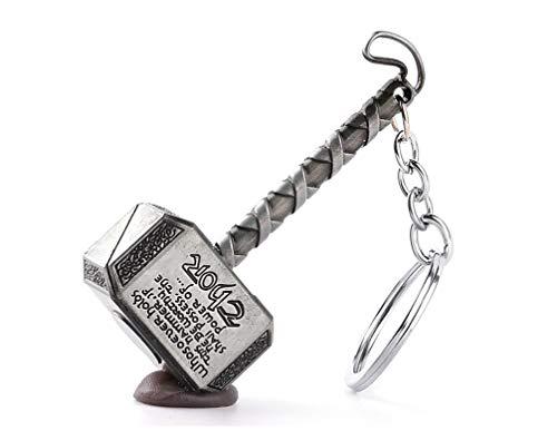 Avengers : Endgame Thanos Thor's Hammer 金属 Keychain 玩具,三种颜色,3英寸 (银色)