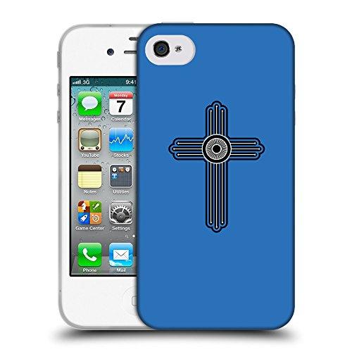GoGoMobile Coque de Protection TPU Silicone Case pour // Q07980608 Christian Cross 23 Azur // Apple iPhone 4 4S 4G