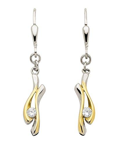 Boucles d'oreilles pendantes avec Oxyde de Zirconium en or blanc 3338cts