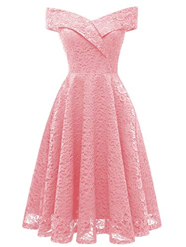 KCatsy Lace Off Shoulder Flare Party Dress -