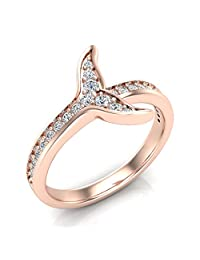 0.26 ct tw Fish-Tail Design Shank Eternity Band Wedding Ring 14K Rose Gold (Ring Size 5.5)