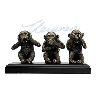 (Three Wise Monkeys See Hear Speak No Evil Statue Sculpture Bronze Finish)