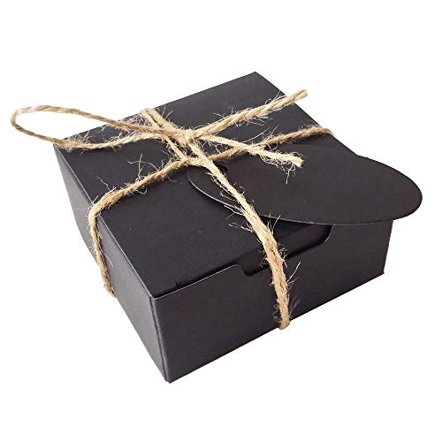 Gold-Furtune 50PCS Square Gift Wrapping Kraft Paper Box With Tags & Hemp Rope Paper Soap Box  (Black Box With Black Hemp Rope)