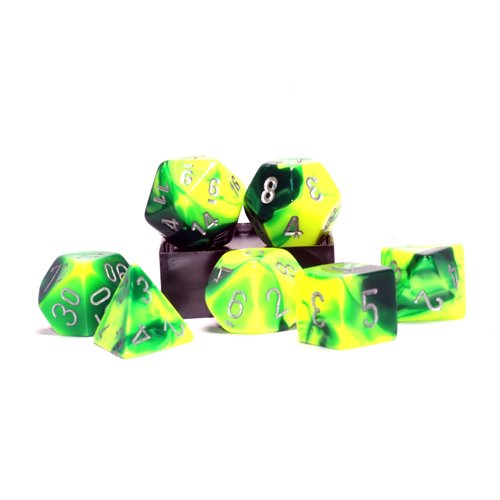 Polyhedral 7-Die Gemini Chessex Dice Set - Green and Yellow