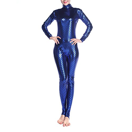 [Muka Adult Unitard Bodysuit Dancewear, Fish Scales Mermaid Costume Leggings - Blue,M] (Morph Suit Costumes Ideas)