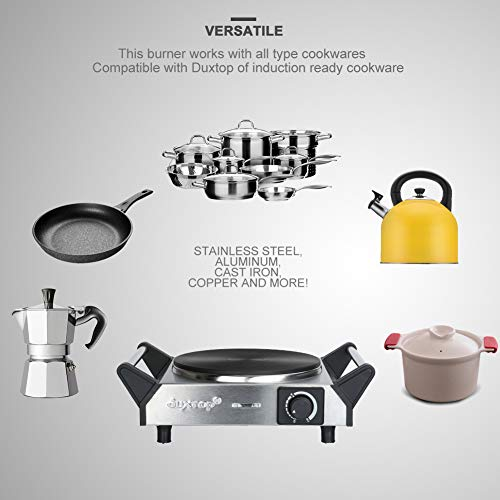 Duxtop ES-3102 1500W Portable Electric Cast Iron Cooktop Countertop Burner (Single), 7.5 Inches, Silver