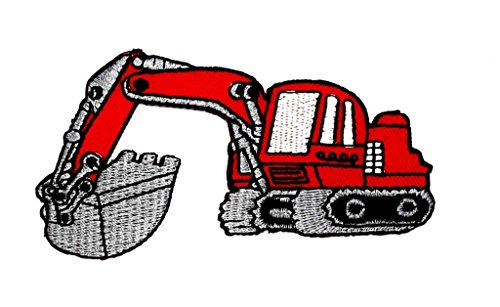 2 x 4 inches Backhoe Digger Tractor Loader Backhoe Bulldozer Cartoon Kids Children Cute Animal Patch for DIY Applique Iron on Patch T shirt Patch Sew Iron on Embroidered Badge Sign Costume