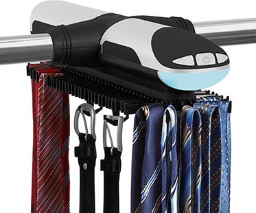 KOVOT 72 Hook Motorized Tie Rack and Belt Rack with Built in LED Lighting