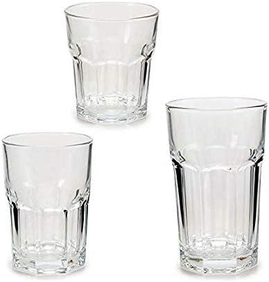 TU TENDENCIA UNICA Juego de 18 Vasos Cuadrados con Relieve Soda-Lime-silice Linea vivalto. 6 Vasos de 26 cl, 6 Vasos de 29 cl y 6 Vasos de 43 cl