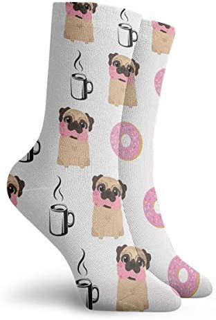 Hand Drawn Pattern With Funny Pug Athletic Casual Running Socks Dog And Glasses