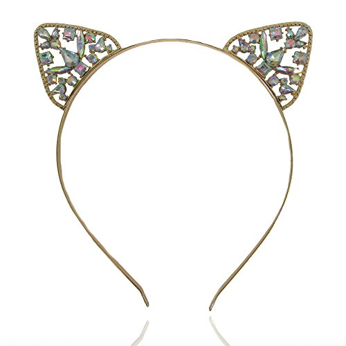 Women or Girls Iridescent Crystal Cat Ears Headband for All Ages (Gold) -