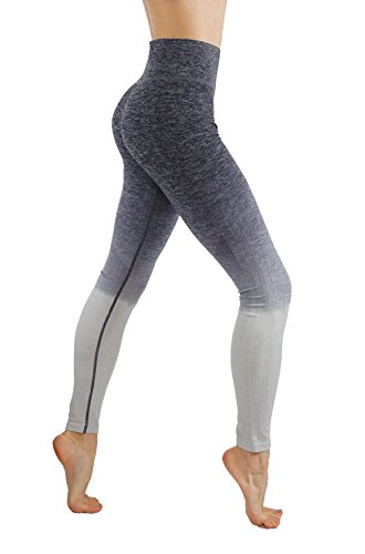CodeFit Yoga Power Flex Dry-Fit Pants Workout Printed Leggings Ombre Print (XL USA 10-12, LY1143-Gray) ()
