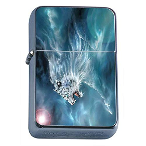 (Mystic White Tiger Flip Top Oil Lighter Em1 Smoking Cigarette Silver Case Included)
