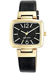 Nine West Womens NW/1840BKBK Gold-Tone and Black Strap Watch
