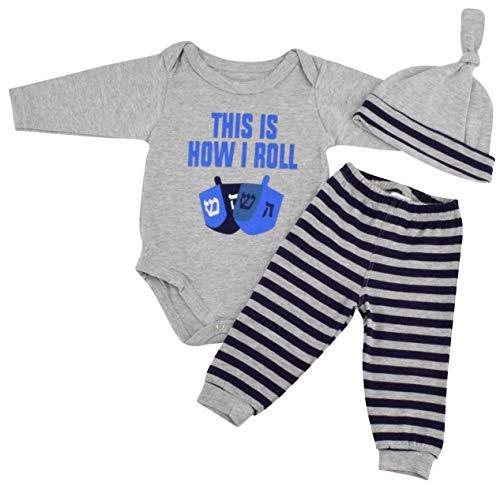 Unique Baby Boys This is How I Roll Hanukkah Layette Set Cap (Newborn)
