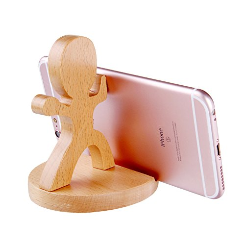 Creative Cute Natural Wooden cell Phone Stand/ Holder For Iphone Ipad Samsung Phone Tablet Plate PC (Come on) Cute Natural