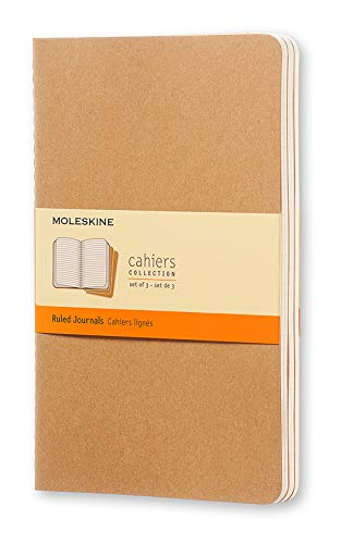 """Moleskine Cahier Journal, Soft Cover, Large (5"""" x 8.25"""") Ruled/Lined, Kraft Brown, 80 Pages (Set of 3)"""