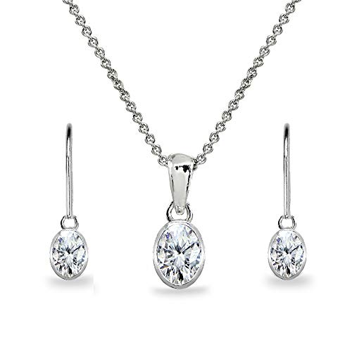 Sterling Silver Cubic Zirconia Oval Bezel-Set Solitaire Dainty Necklace & Leverback Earrings Set for Women