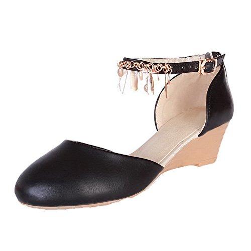 AalarDom Mujer Hebilla Puntera Cerrada Tacón Medio Pu Sólido Sandalias de vestir Negro