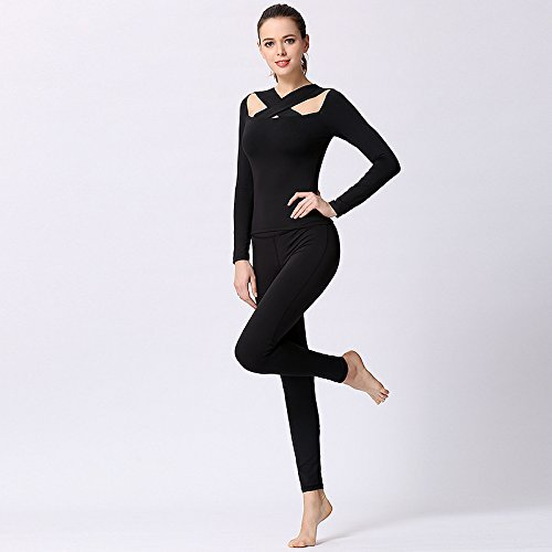 A11+b11 DACHUI Sports Clothing Women's Yoga Fitness Fitness Set of Clothing of The Sport, The Sport Shirt top & Yoga Pants Black