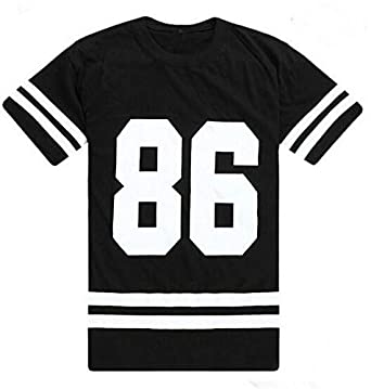 5412350f Women Oversized 86 American Baseball Tee T-Shirt Top Varsity Short Sleeve  Loose Sv00296\7 Black ...