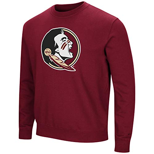 Colosseum NCAA Men's -Playbook- Crewneck Fleece Sweatshirt with Tackle Twill Embroidered Lettering-Florida State Seminoles-Garnet-Large ()