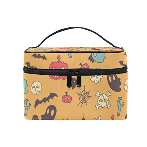 OREZI Retro Halloween Pattern Cosmetic Bag Large Multifunction Makeup Travel Toiletry Travel Kit Organizer Case with Quality Zipper Portable for Makeup Bag for Women ()