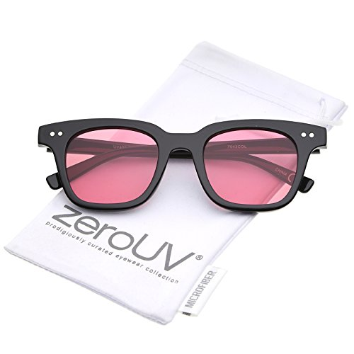 Retro Chunky Frame Color Tinted Square Flat Lens Horn Rimmed Sunglasses 47mm (Flat Glass Manufacturers)