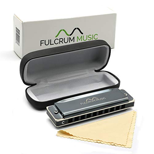 Fulcrum Music Harmonica with Case - Key of C - Professional or Beginner - Blues and Folk - Premium Quality, Modern, Metal