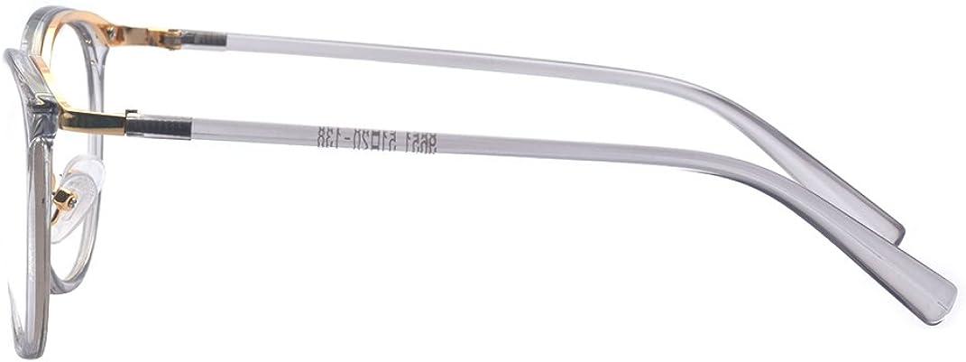 ALWAYSUV Retro Metall Steg Klare Linse Rund Optische St/ärke Rahmen Brillenfassung