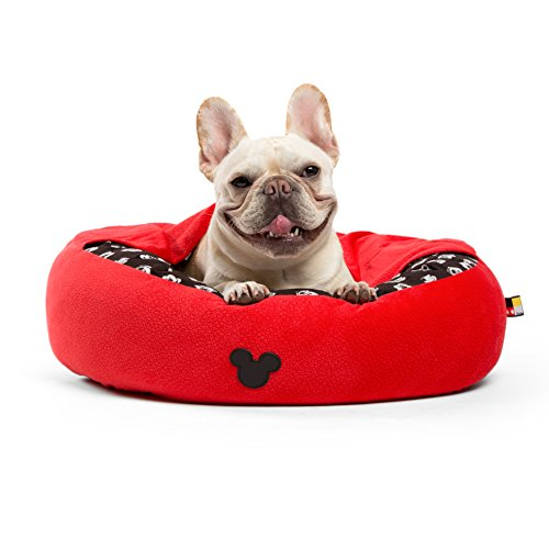 Disney Mickey Mouse Cozy Cuddler in Mickey Bobble, Red, Small, 22″x22″ (Dog Bed/Cat Bed)