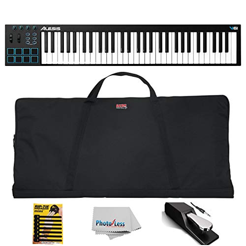 Alesis V61 | 61-Key USB MIDI Keyboard & Drum Pad Controller + Gator Gig Bag for 61 Note Keyboards + Pedal + Mini Cable Ties & Clean Cloth
