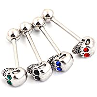 YiCheaGo 4pairs Assorted color Stainless Steel Barbell Jewelry Skull Tongue Nipple Rings