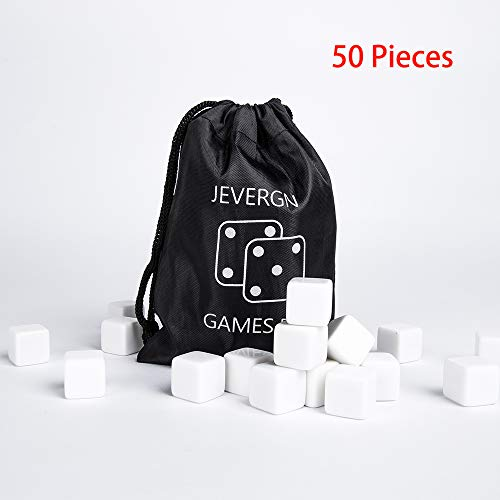 50 Pcs 16mm Acrylic Blank Dice Cubes Set, D6 Dice for Board Games, DIY, Fun and Teaching ()