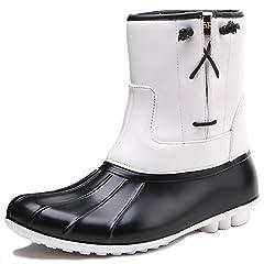 Womens PU Lace-up Waterproof Rain Boots